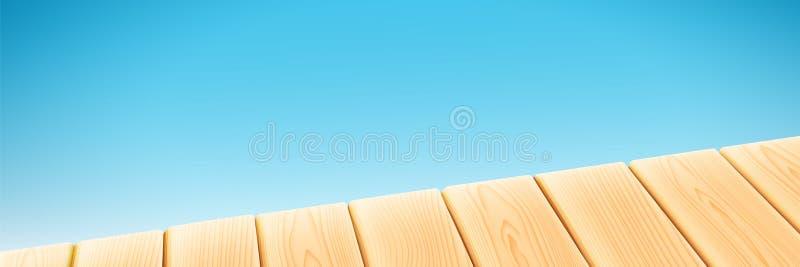 Drewniany światło stół odizolowywający na błękitnym tle Wektorowi elementy dla reklamowego ands pakunku projekta 3D Realistyczny ilustracja wektor