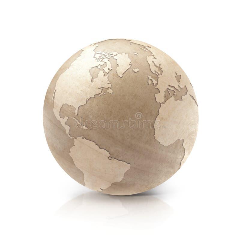 Drewniany świat na białym tle obrazy stock