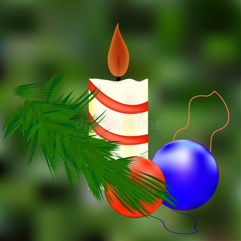 Drewniany świerkowy drzewo Zamazywać tło Przygotowanie dla Bożych Narodzeń nowy rok, Czerwona i błękitna piłka Świąteczna świeczk ilustracji