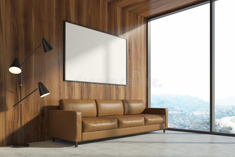 Drewniany żywy pokój, brown kanapa, plakat ilustracji