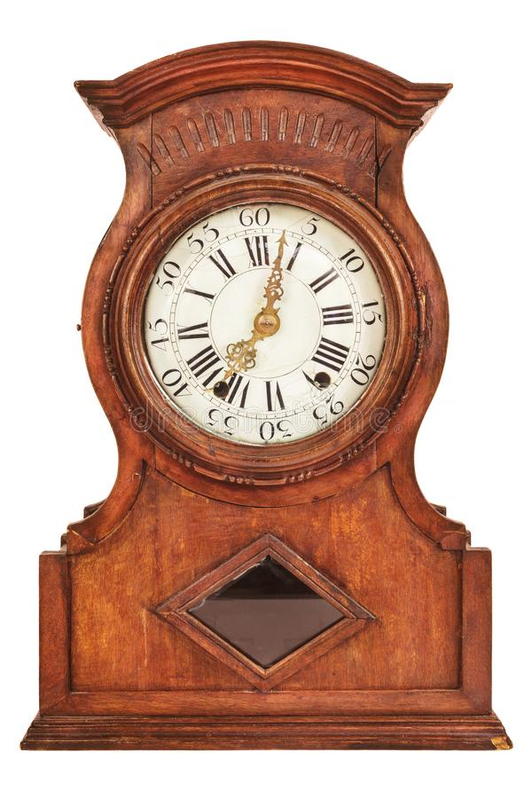 Drewniany antyczny zegar odizolowywający na bielu obraz royalty free