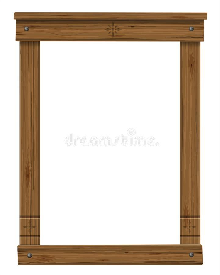 Drewniany antykwarski okno lub drzwiowa rama ilustracja wektor