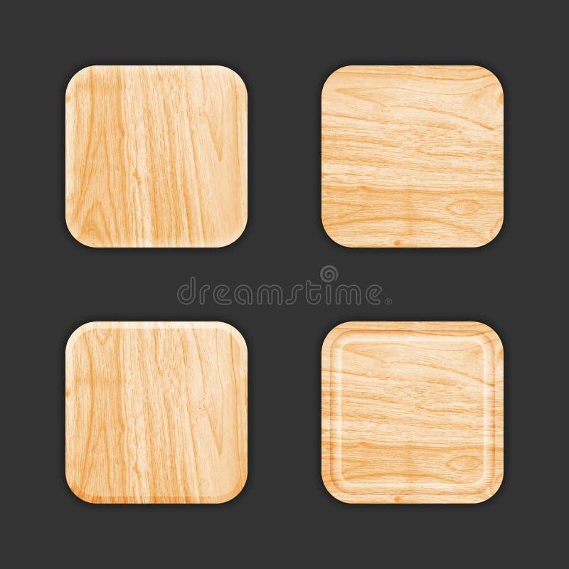 Drewniany App ikony szablonu set ilustracja wektor