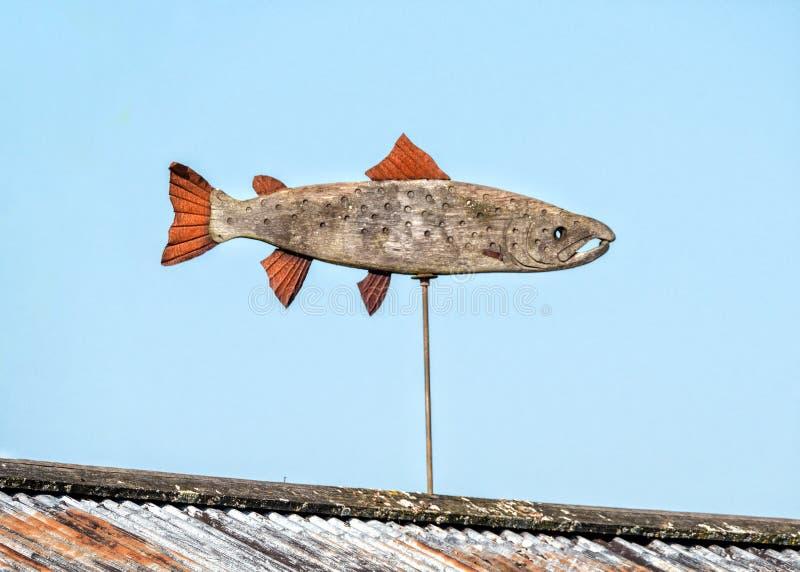Drewniany Atlantyckiego łososia weathervane zdjęcia royalty free