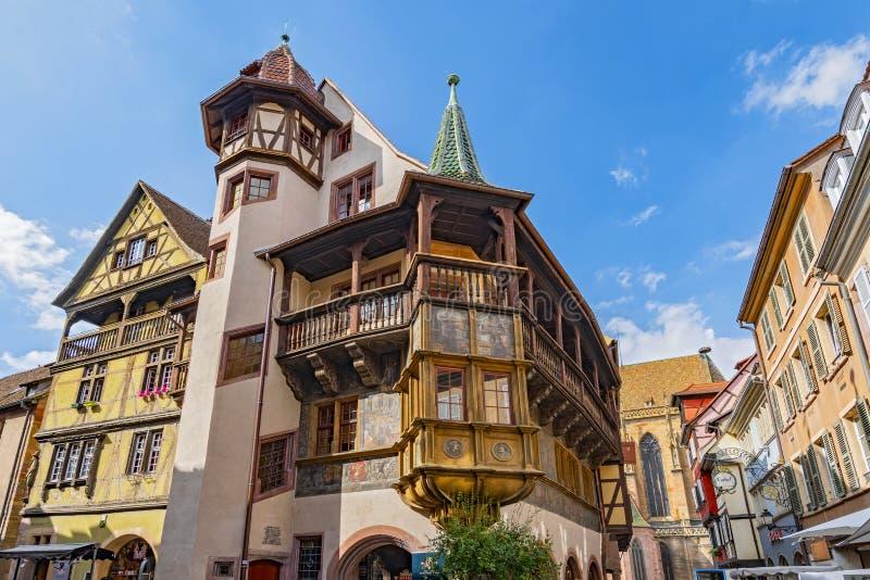 Drewniany balkon średniowieczny domowy Maison Pfister przy Colmar, Alsace Francja fotografia stock