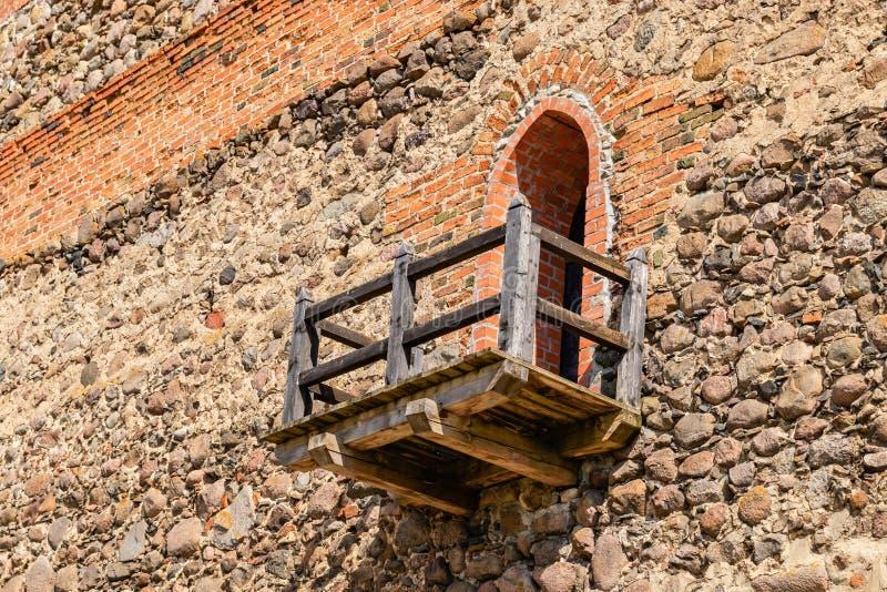 Drewniany balkon jako element Lida forteca fotografia royalty free