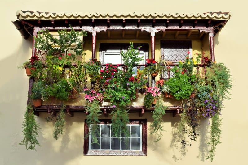 Drewniany balkon, widzieć w Santa Cruz De Los Angeles Palma, wyspy kanaryjska, Hiszpania obraz royalty free