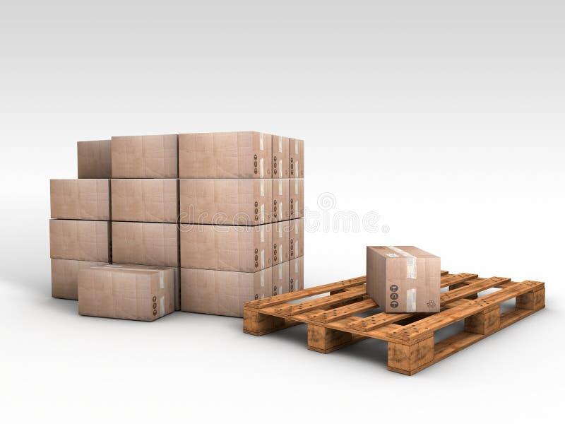 Drewniany barłóg z karcianymi deskami ilustracji