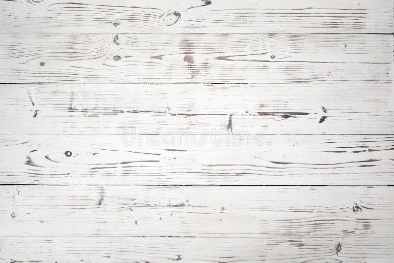 Drewniany biały tło i tekstura, drewniane deski fotografia stock