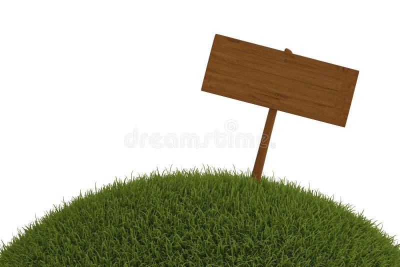 Drewniany billboard na trawie odizolowywającej na białym tle 3D ja ilustracja wektor