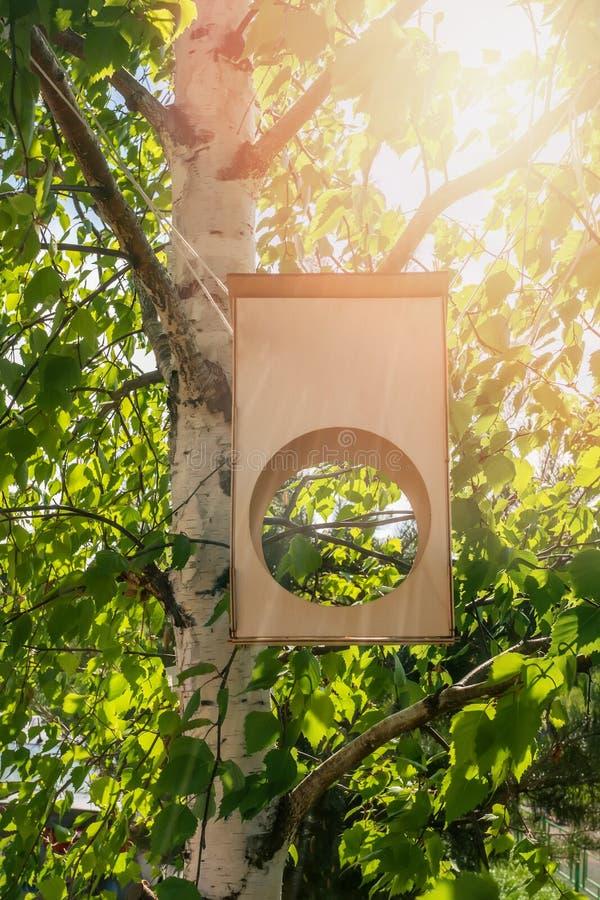 Drewniany birdhouse na brzozy drzewie w lasowym parku, ręcznie robiony drewniany schronienie dla ptaków wydawać zimę Miejsce karm zdjęcia stock