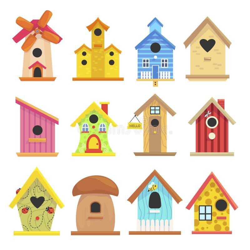 Drewniany birdhouse set, kolorowa ogrodowa plenerowa dekoracja ilustracja wektor