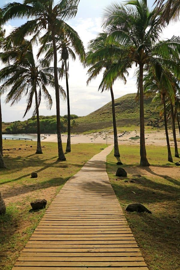 Drewniany boardwalk w świetle słonecznym prowadzi Anakena plaża na Wielkanocnej wyspie Chile obrazy royalty free