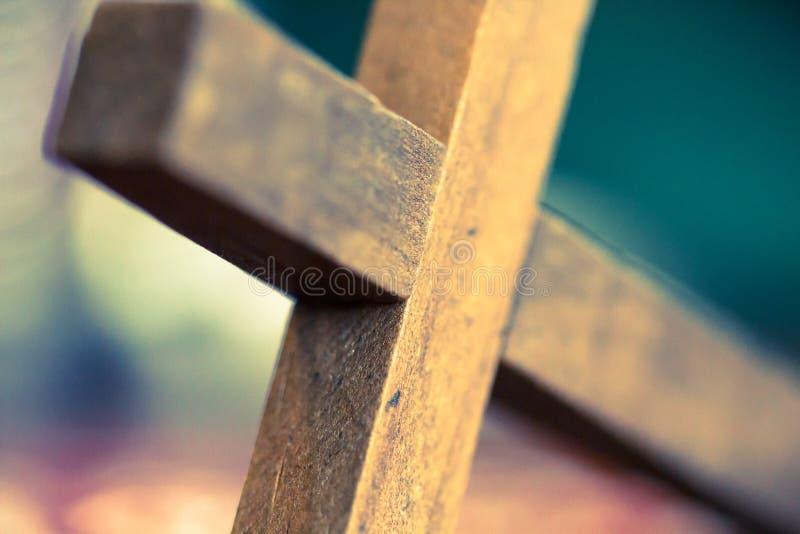 Drewniany chrześcijanina krzyża zbliżenie obrazy royalty free