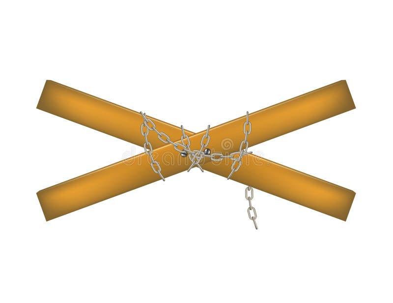 Drewniany crossbar łączący łańcuchem ilustracja wektor