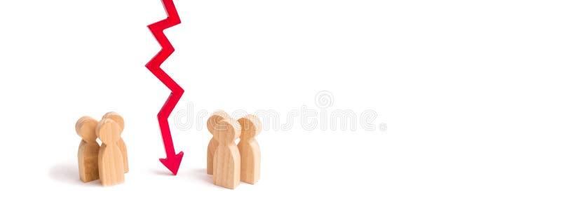 Drewniany czerwony mapy strzała puszek dzieli dwa grupy dyskutuje skrzynkę Wygaśnięcie i awaria powiązania łama krawaty, C zdjęcia stock