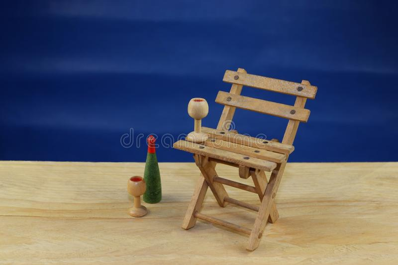 Drewniany deckchair na plaży obraz stock