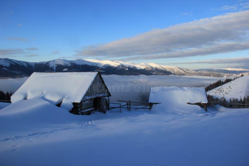 Drewniany dom na wierzchołku śnieżysta góra, Carpathians fotografia stock