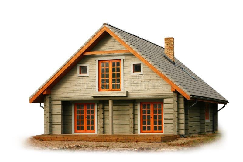 Drewniany dom odizolowywający na bielu obrazy stock