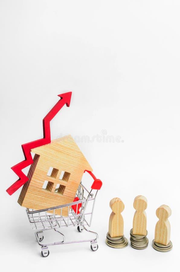 Drewniany dom w supermarketa tramwaju up i czerwonej strzała pojęcie wysokie zapotrzebowanie dla nieruchomości przyrostowa wydajn zdjęcie stock