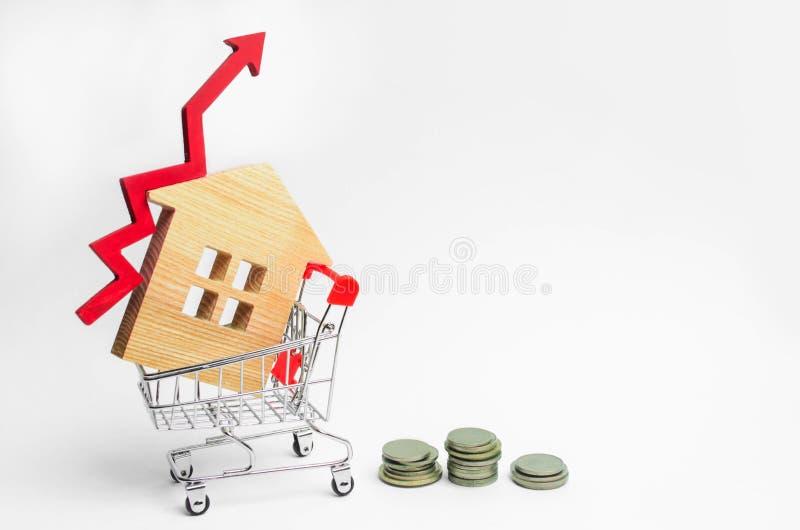 Drewniany dom w supermarketa tramwaju up i czerwonej strzała pojęcie wysokie zapotrzebowanie dla nieruchomości przyrostowa wydajn obrazy stock