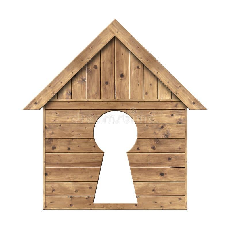Drewniany dom z keyhole obrazy royalty free