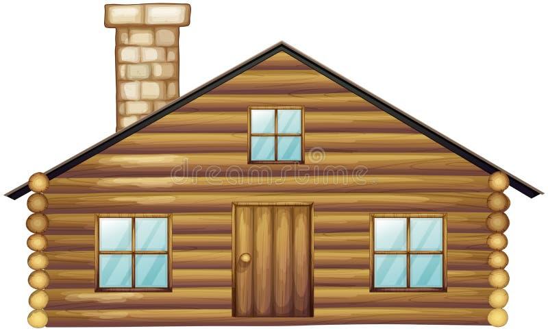 Drewniany dom z kominem royalty ilustracja