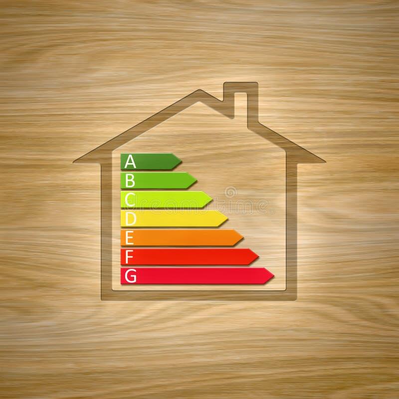 Drewniany dom z wydajność energii wykresem ilustracja wektor
