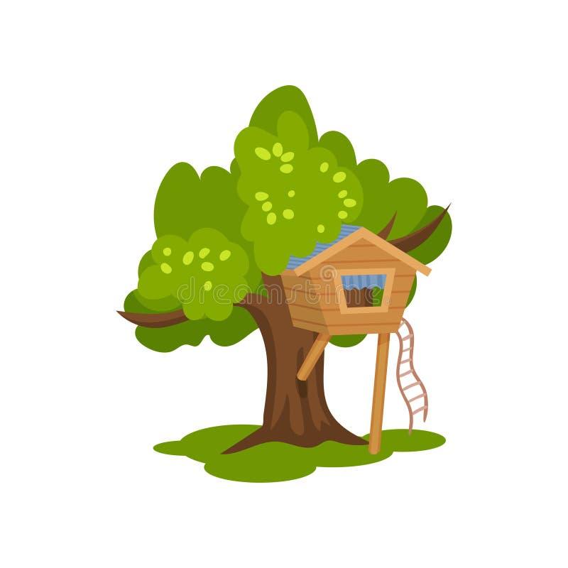 Drewniany domek na drzewie, buda na drzewie z drabiną dla dzieciaków plenerowa aktywność i odtwarzanie, wektorowa ilustracja na b ilustracji