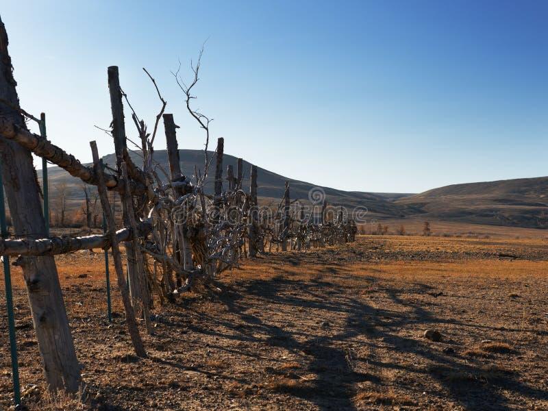 Drewniany domowej roboty ogrodzenie ogradza terytorium Robić z grubsza od kijów i gałąź fotografia stock