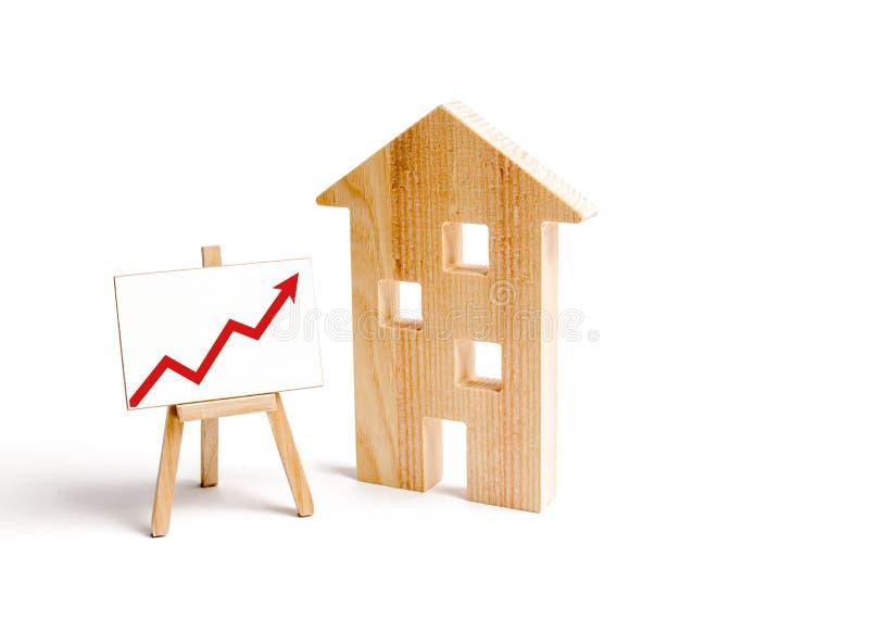 Drewniany domu stojak z czerwoną strzałą w górę Rosnący popyt dla mieścić i nieruchomości Przyrost miasto i swój populacja Inves obrazy royalty free