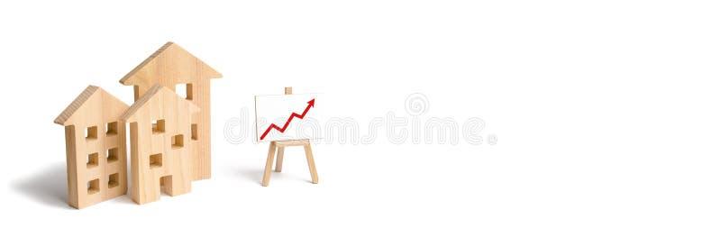 Drewniany domu stojak z czerwoną strzałą w górę Rosnący popyt dla mieścić i nieruchomości Przyrost miasto i swój populacja fotografia stock