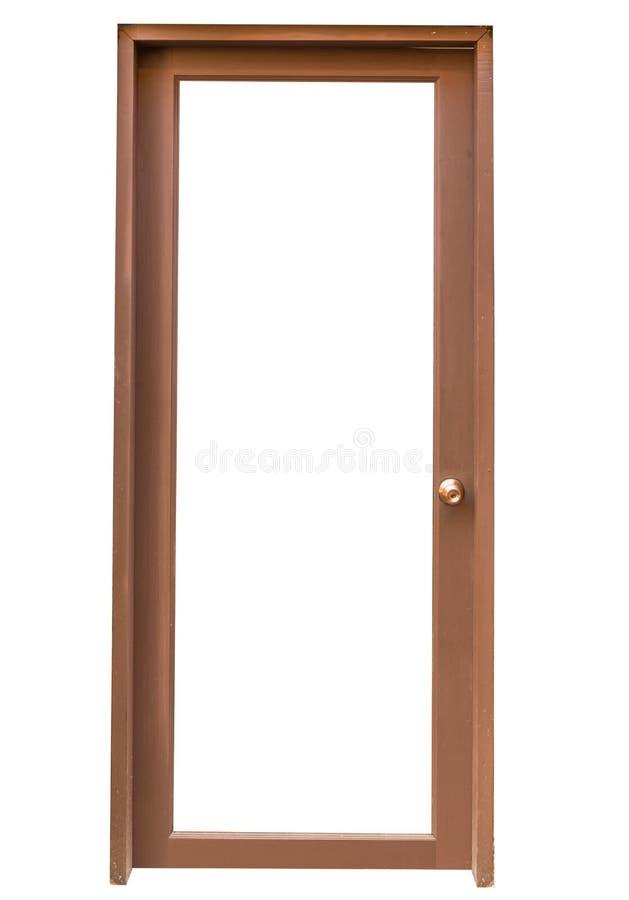 Drewniany drzwi odizolowywa na białym tle obraz royalty free