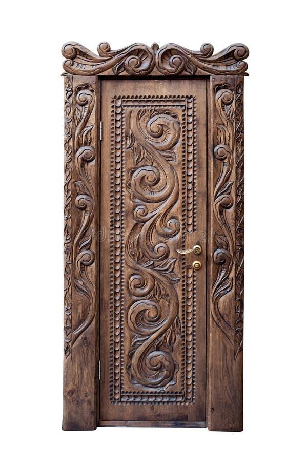 Drewniany drzwi odizolowywający na białym tle zdjęcie royalty free