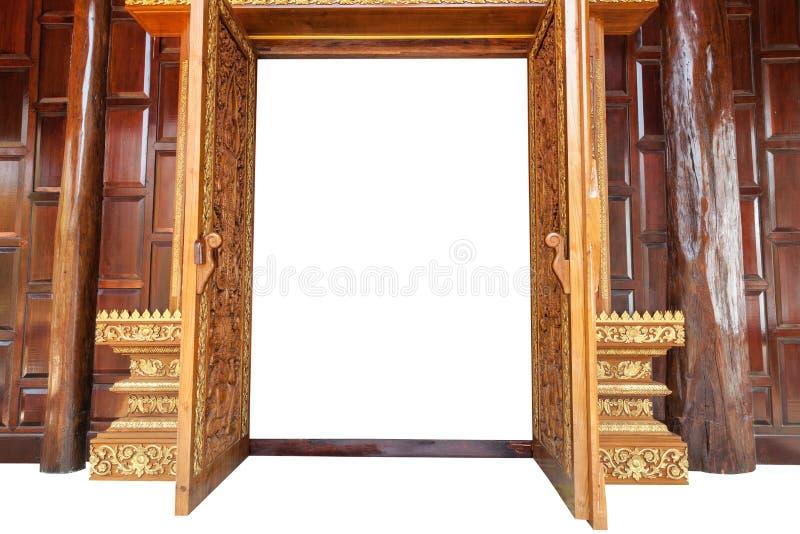 Drewniany drzwi w świątyni Tajlandia na białym tle fotografia royalty free