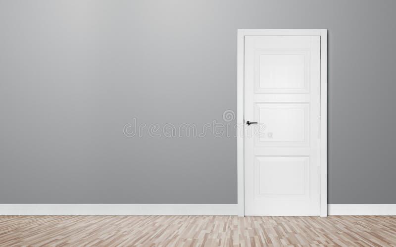 Drewniany drzwi w pustym pokoju zdjęcia stock