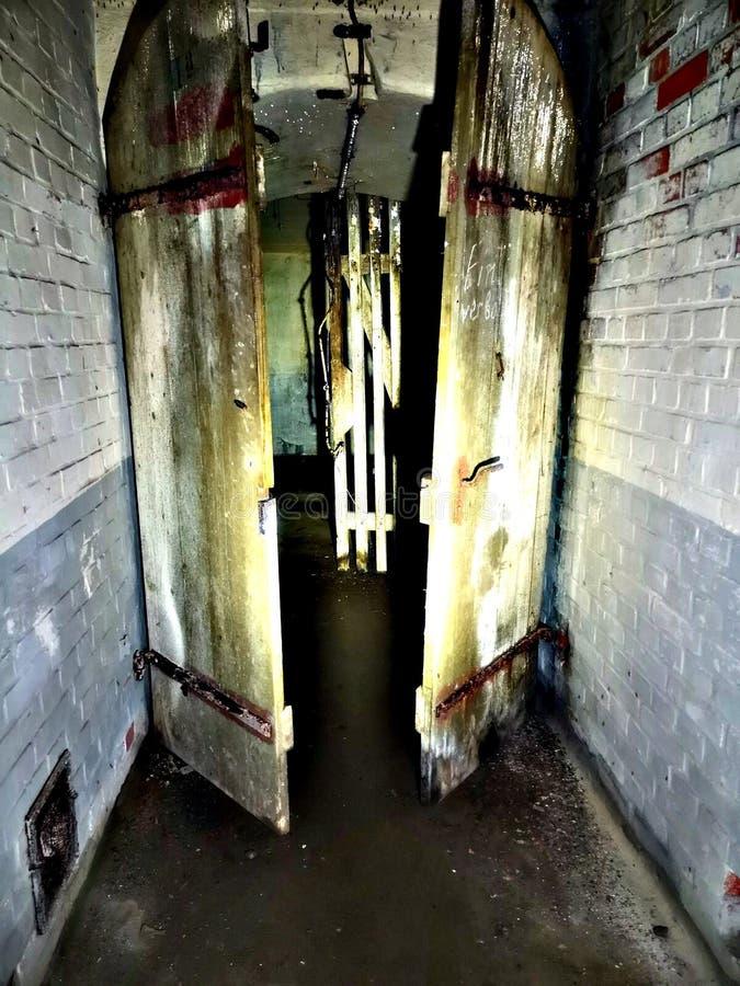 Drewniany drzwi w zaniechanym bunkierze zdjęcie royalty free