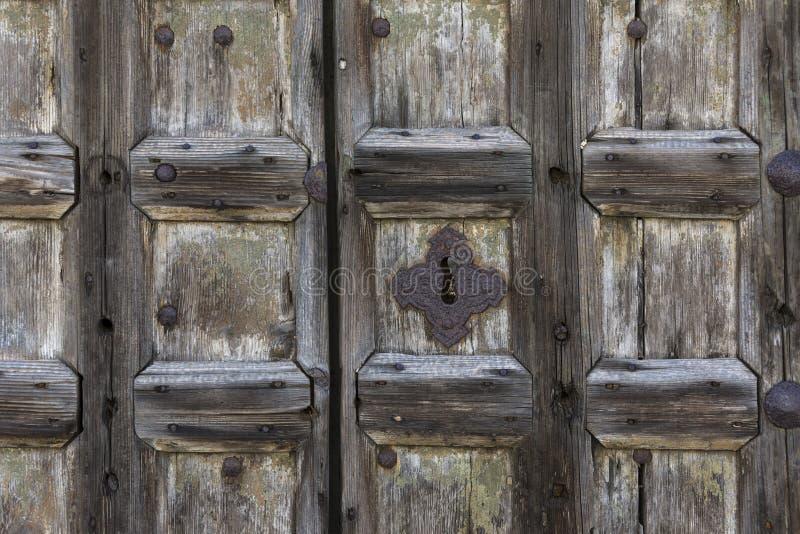 Drewniany drzwi Wenecja, Włochy - obraz royalty free