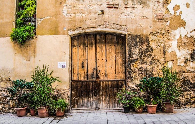 Drewniany drzwi z kamienną ścianą i zielonymi krzakami obraz royalty free
