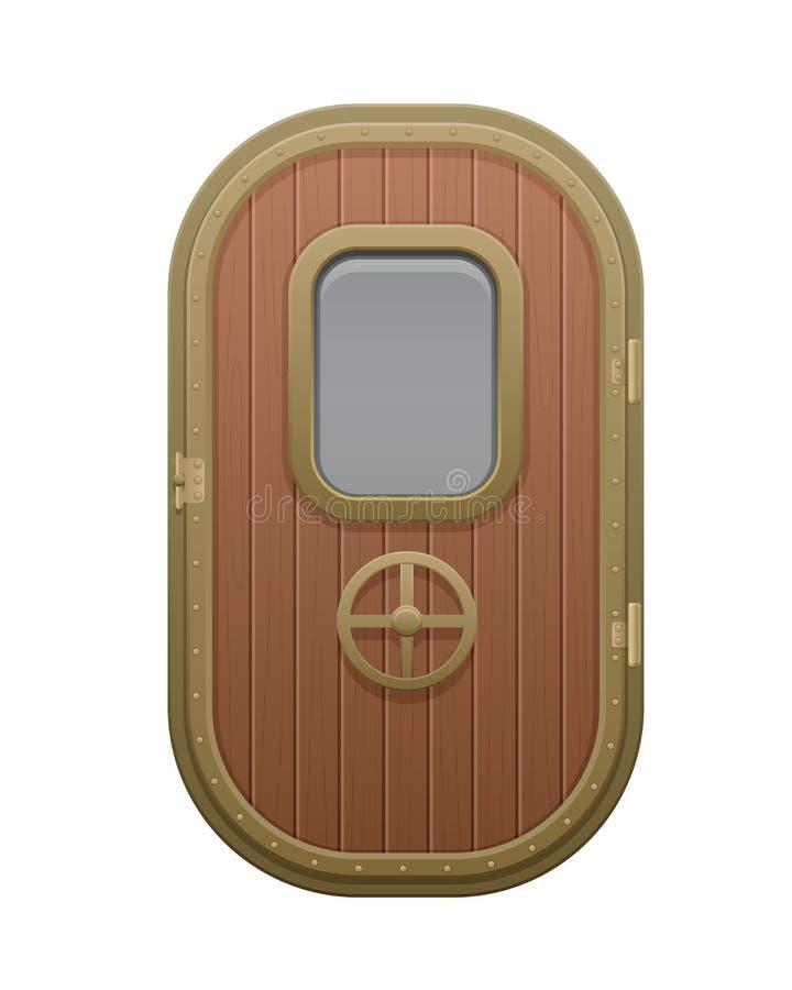 Drewniany drzwi z oszklonym prostokątnym nadokiennym porthole ilustracja wektor
