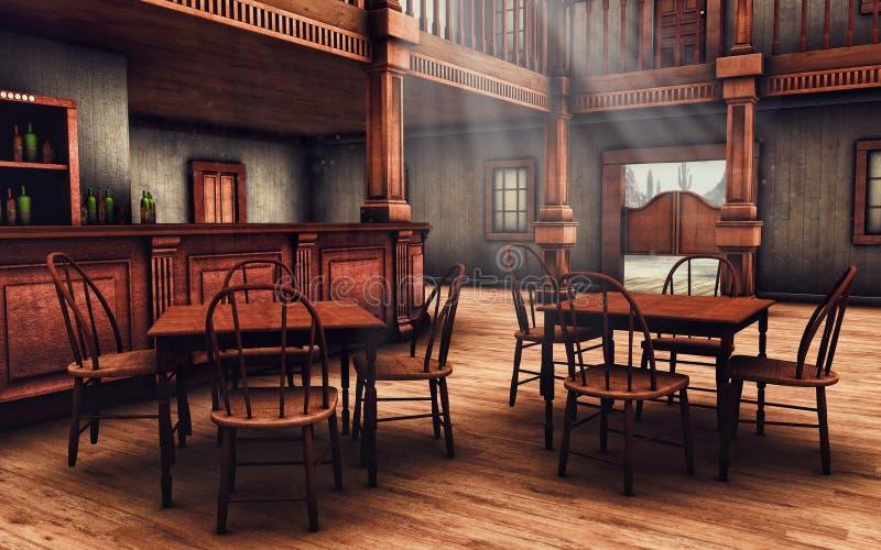 Drewniany Dziki Zachodni bar ilustracji
