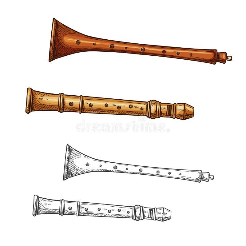 Drewniany fletowy ludowy instrumentu muzycznego nakreślenie ilustracji