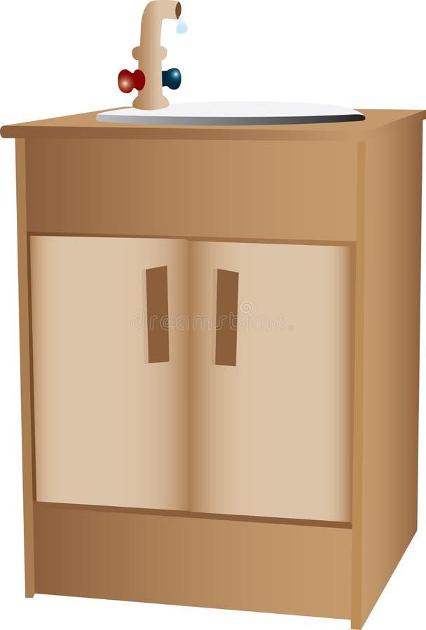 drewniany gabinetowy zlew ilustracji