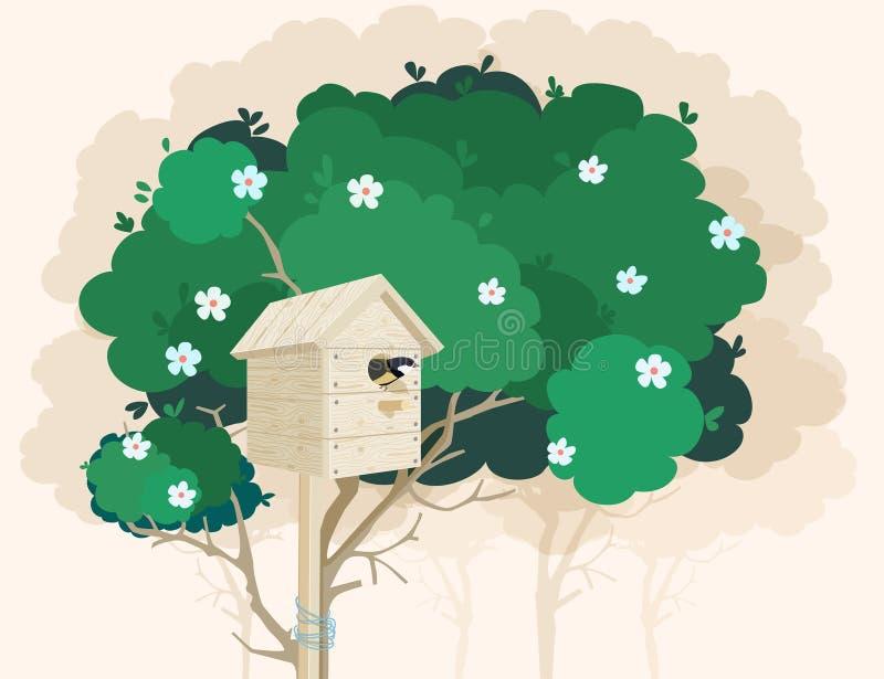 Drewniany gniazdować pudełko na kwitnie drzewie ilustracji