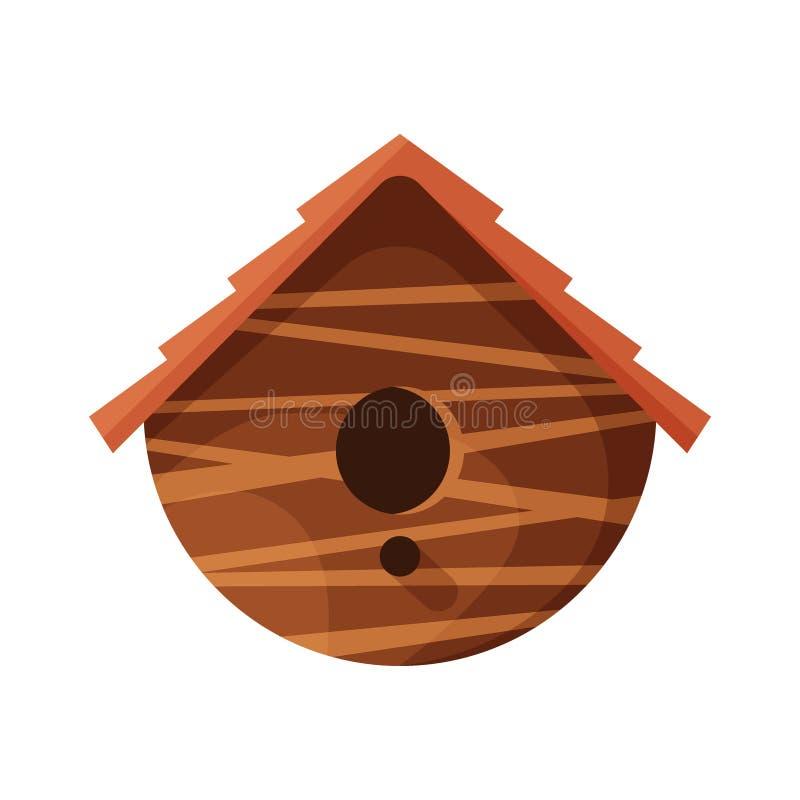 Drewniany handmade ptaka dom odizolowywaj?cy na bia?ym tle Kreskówki gniazdować domowej roboty pudełko dla ptaków, ekologia zaokr ilustracji