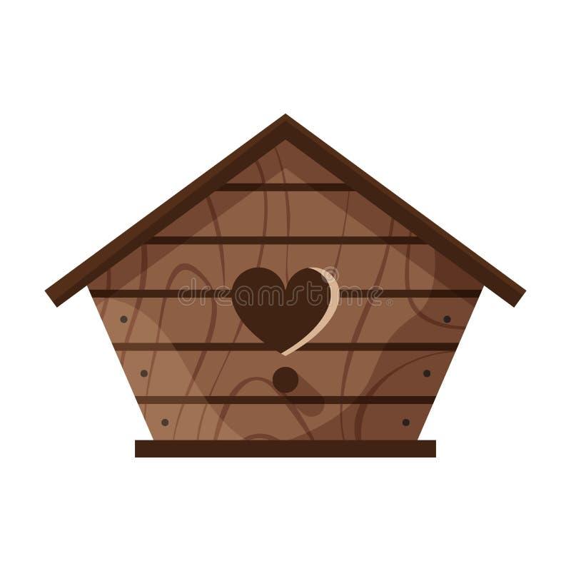 Drewniany handmade ptaka dom odizolowywaj?cy na bia?ym tle Kresk?wki gniazdowa? domowej roboty pude?ko dla ptak?w, ekologii birdb ilustracji