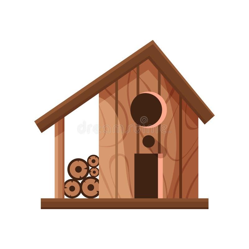 Drewniany handmade ptaka dom odizolowywaj?cy na bia?ym tle Kresk?wki gniazdowa? domowej roboty pude?ko dla ptak?w, ekologii birdb ilustracja wektor