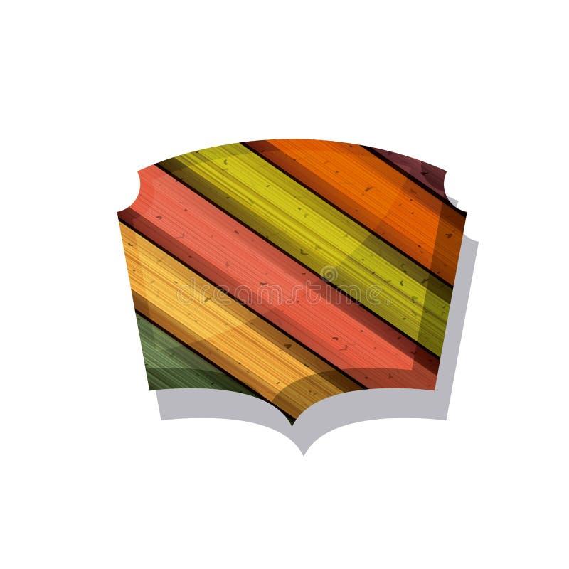 Drewniany i pasiasty stubarwny ramowy projekt ilustracji