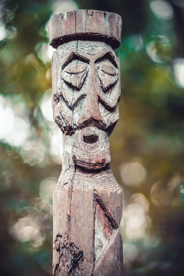 Drewniany idol w lesie zdjęcie royalty free