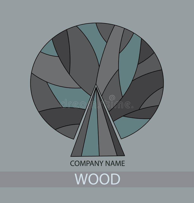 Drewniany ikony pojęcie stylizowany drzewo z liśćmi Szary Drzewny logo royalty ilustracja